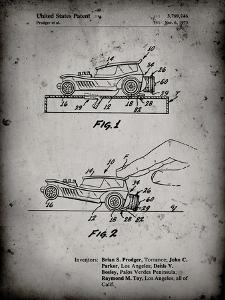 PP1020-Faded Grey Rubber Band Toy Car Patent Poster by Cole Borders