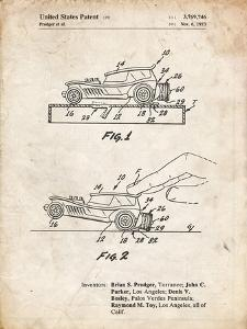 PP1020-Vintage Parchment Rubber Band Toy Car Patent Poster by Cole Borders