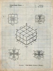 PP1022-Antique Grid Parchment Rubik's Cube Patent Poster by Cole Borders