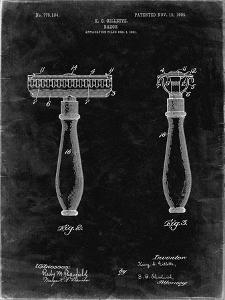 PP1026-Black Grunge Safety Razor Patent Poster by Cole Borders