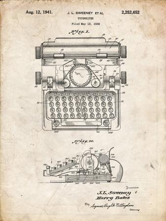 PP1029-Vintage Parchment School Typewriter Patent Poster