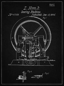 PP1035-Vintage Black Singer Sewing Machine Patent Poster by Cole Borders