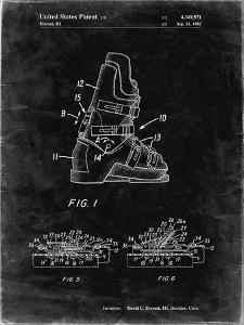 PP1037-Black Grunge Ski Boots Patent Poster by Cole Borders