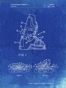 PP1037-Faded Blueprint Ski Boots Patent Poster by Cole Borders