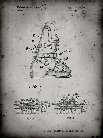 PP1037-Faded Grey Ski Boots Patent Poster