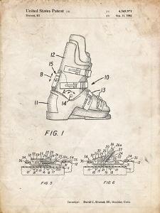 PP1037-Vintage Parchment Ski Boots Patent Poster by Cole Borders