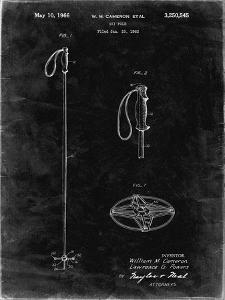 PP1038-Black Grunge Ski Pole Patent Poster by Cole Borders