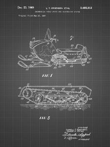 PP1046-Black Grid Snow Mobile Patent Poster by Cole Borders