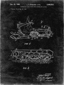 PP1046-Black Grunge Snow Mobile Patent Poster by Cole Borders