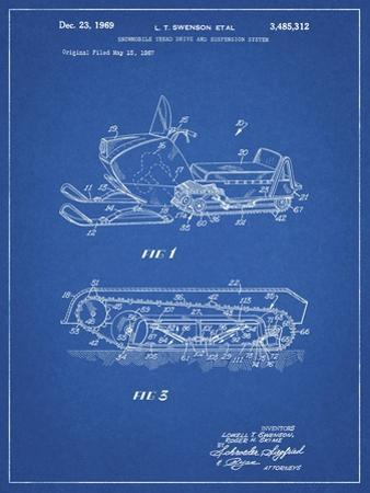 PP1046-Blueprint Snow Mobile Patent Poster by Cole Borders