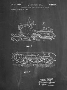 PP1046-Chalkboard Snow Mobile Patent Poster by Cole Borders