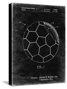 PP1047-Black Grunge Soccer Ball Layers Patent Poster by Cole Borders