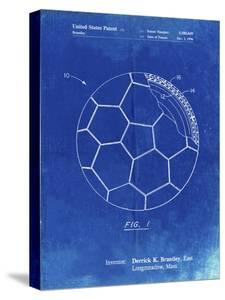 PP1047-Faded Blueprint Soccer Ball Layers Patent Poster by Cole Borders