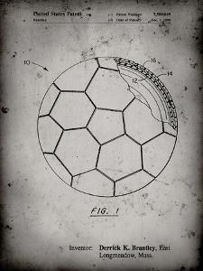 PP1047-Faded Grey Soccer Ball Layers Patent Poster by Cole Borders