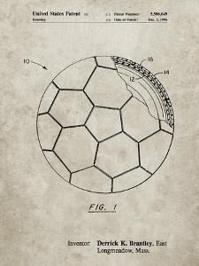 PP1047-Sandstone Soccer Ball Layers Patent Poster by Cole Borders
