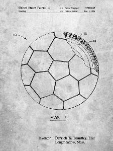 PP1047-Slate Soccer Ball Layers Patent Poster by Cole Borders