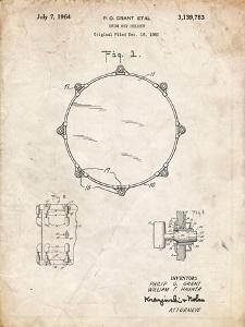 PP105-Vintage Parchment Drum Key Holder Patent Poster by Cole Borders