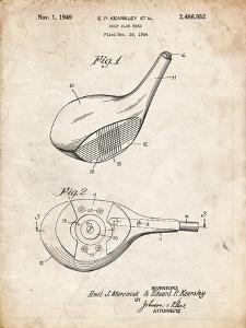 PP1050-Vintage Parchment Spalding Golf Driver Patent Poster by Cole Borders