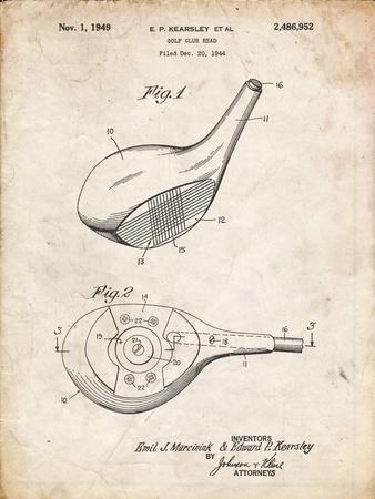 PP1050-Vintage Parchment Spalding Golf Driver Patent Poster