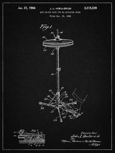 PP106-Vintage Black Hi Hat Cymbal Stand and Pedal Patent Poster by Cole Borders