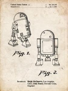 PP1063-Vintage Parchment Starwars r2d2 Patent Art by Cole Borders