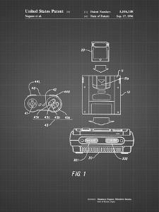 PP1072-Black Grid Super Nintendo Console Remote and Cartridge Patent Poster by Cole Borders