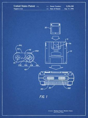 PP1072-Blueprint Super Nintendo Console Remote and Cartridge Patent Poster by Cole Borders