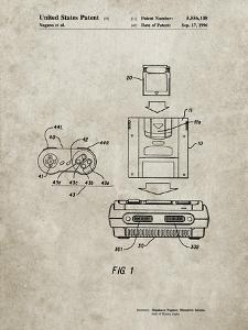 PP1072-Sandstone Super Nintendo Console Remote and Cartridge Patent Poster by Cole Borders