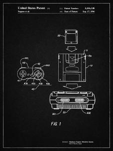 PP1072-Vintage Black Super Nintendo Console Remote and Cartridge Patent Poster by Cole Borders