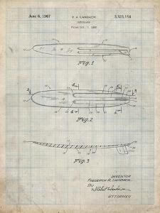 PP1073-Antique Grid Parchment Surfboard 1965 Patent Poster by Cole Borders