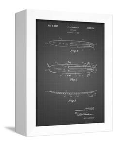 PP1073-Black Grid Surfboard 1965 Patent Poster by Cole Borders