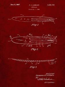 PP1073-Burgundy Surfboard 1965 Patent Poster by Cole Borders