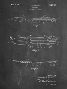 PP1073-Chalkboard Surfboard 1965 Patent Poster by Cole Borders