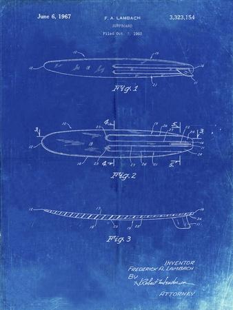 PP1073-Faded Blueprint Surfboard 1965 Patent Poster