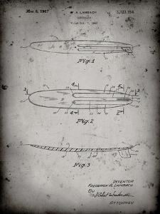 PP1073-Faded Grey Surfboard 1965 Patent Poster by Cole Borders