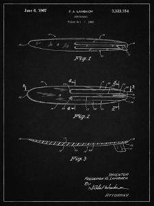 PP1073-Vintage Black Surfboard 1965 Patent Poster by Cole Borders