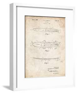PP1073-Vintage Parchment Surfboard 1965 Patent Poster by Cole Borders