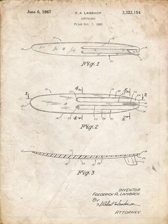 PP1073-Vintage Parchment Surfboard 1965 Patent Poster