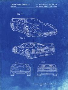PP108-Faded Blueprint Ferrari 1990 F40 Patent Poster by Cole Borders