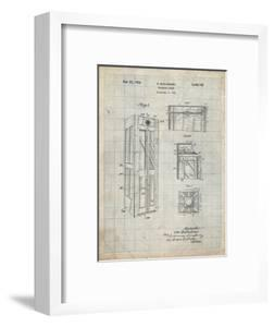 PP1088-Antique Grid Parchment Telephone Booth Patent Poster by Cole Borders