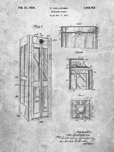 PP1088-Slate Telephone Booth Patent Poster by Cole Borders