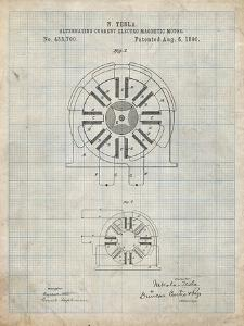 PP1092-Antique Grid Parchment Tesla Coil Patent Poster by Cole Borders