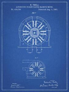 PP1092-Blueprint Tesla Coil Patent Poster by Cole Borders
