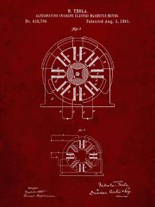 PP1092-Burgundy Tesla Coil Patent Poster by Cole Borders