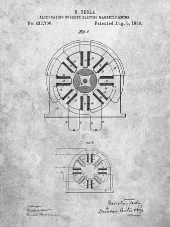 PP1092-Slate Tesla Coil Patent Poster