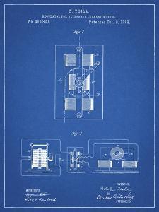 PP1095-Blueprint Tesla Regulator for Alternate Current Motor Patent Poster by Cole Borders