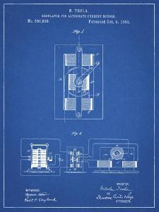 PP1095-Blueprint Tesla Regulator for Alternate Current Motor Patent Poster by Cole Borders