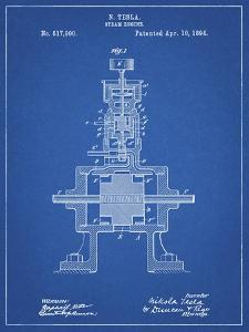 PP1096-Blueprint Tesla Steam Engine Patent Poster by Cole Borders