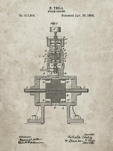 PP1096-Sandstone Tesla Steam Engine Patent Poster by Cole Borders