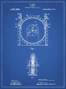 PP1097-Blueprint Tesla Turbine Patent Poster by Cole Borders
